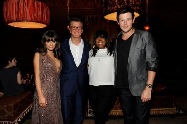 Lea Michele, FOX President of Entertainment Kevin Reilly, Amber Riley and Cory Monteith at GLEE Stars Attend FOX's Casino Party!