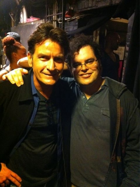 Charlie Sheen, Josh Gad at Charlie Sheen Backstage at THE BOOK OF MORMON!