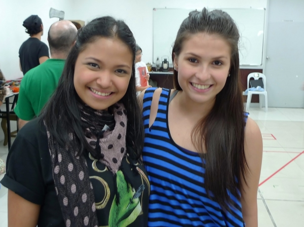At rehearsals: Cara Barredo and Tippy Dos Santos pose for BroadwayWorld.com