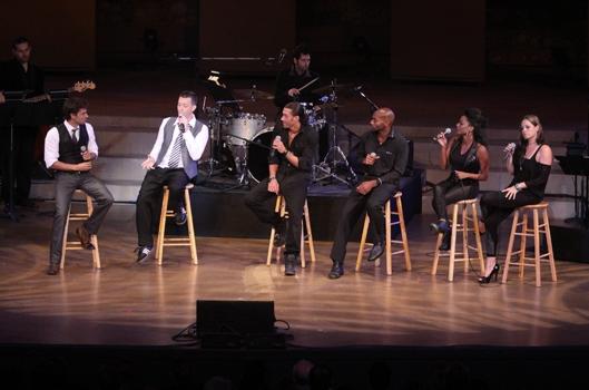 David Burnham, Levi Kreis, Ace Young, Brandon Victor Dixon, Xiantoni Lynch and Karma perform in New York's Fines at Ford Amphitheatre at NEW YORK'S FINEST at Ford Amphitheater