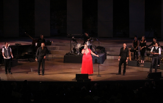 "Levi Kreis, Brandon Victor Dixon, Frenchie Davis, Ace Young and David Burnham close ""New York's Finest"" at the Ford Amphitheatre."