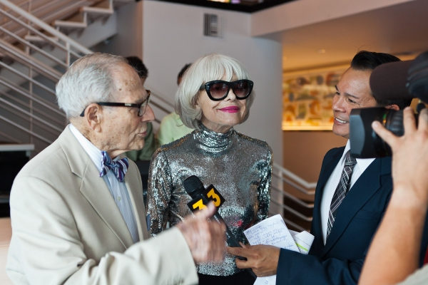 Harry Kullijian and Carol Channing give an interview to ABC's Gil Diaz at Carol Channing & More At Palm Springs EMMY Night Party