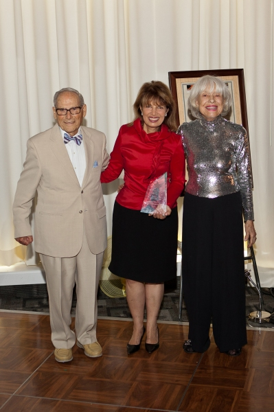 Harry Kullijian, Jackie Speier and Carol Channing with ARTS STAR AWARD at Carol Channing & More At Palm Springs EMMY Night Party