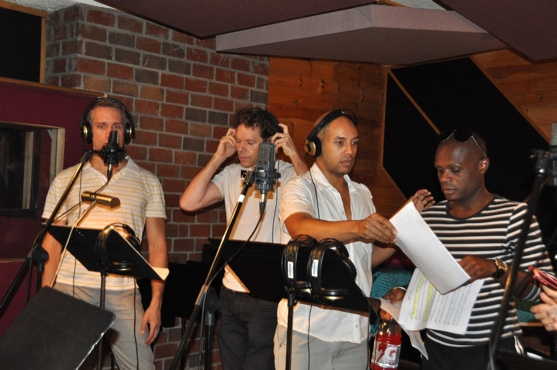 Mike McGowan, Gavin Lodge, Thom Allison and Nathan Lee Graham at PRISCILLA Sings for 'Carols for a Cure'