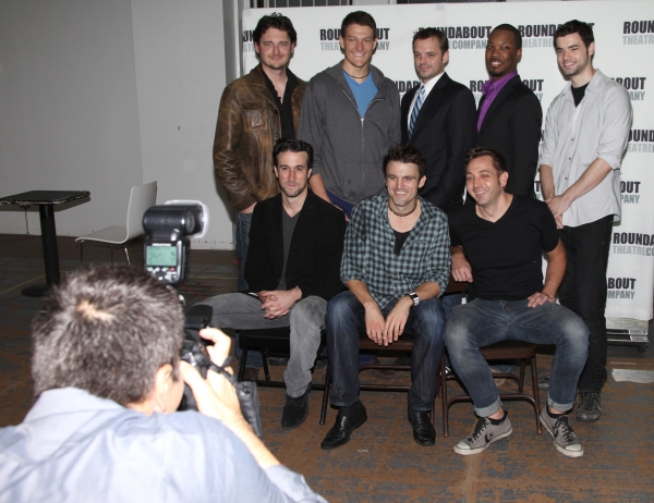 (Top row, L-R:) Toby Leonard Moore, Gabriel Ebert, James McMenamin, Corey Hawkins, Jake O'Connor, (Botton row, L-R:) Mike DiSalvo, playwright Andrew Hinderaker and director Jonathan Berry