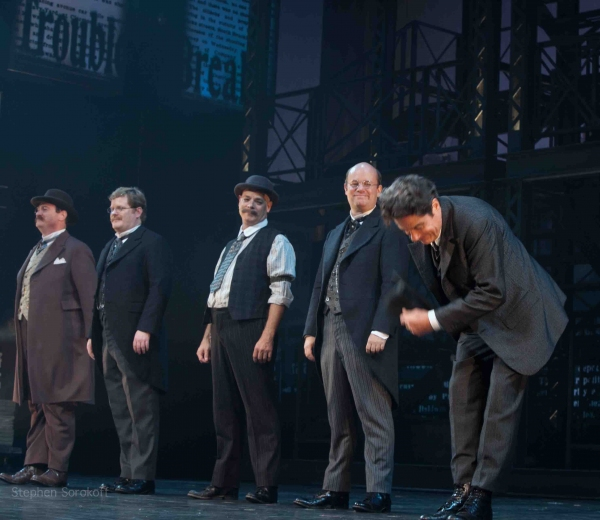 Kevin Carolan, Mark Aldrich, John Brady, Nick Sullivan at NEWSIES Opening Night Curtain Call!