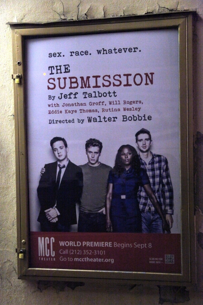 Theatre Marquee - Theatre Marquee - 'The Submission' starring:  Eddie Kaye Thomas, Jonathan Groff, Rutina Wesley & Will Rogers during the Curtain Call for the MCC Theater World Premiere Production of 'The Submission' at the Lucille Lortel Theatre in  New
