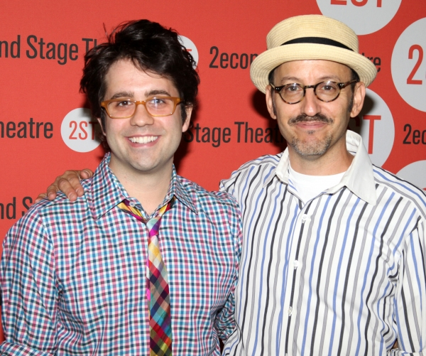 Chase Brock and Will Pomerantz  at the Open Press Rehearsal for the Second Stage Theater Production of 'The Blue Flower' at the Second Stage Rehearsal Room in New York City.