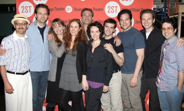 (L-R) Director Will Pomerantz, cast members Graham Rowat, Meghan McGeary, Teal Wicks, Marc Kudisch, Julia Osborne, Joseph Medeiros, Aaron Serotsky, Sebastian Arcelus and choreographer Chase Brock at the Open Press Rehearsal for the Second Stage Theater Pr