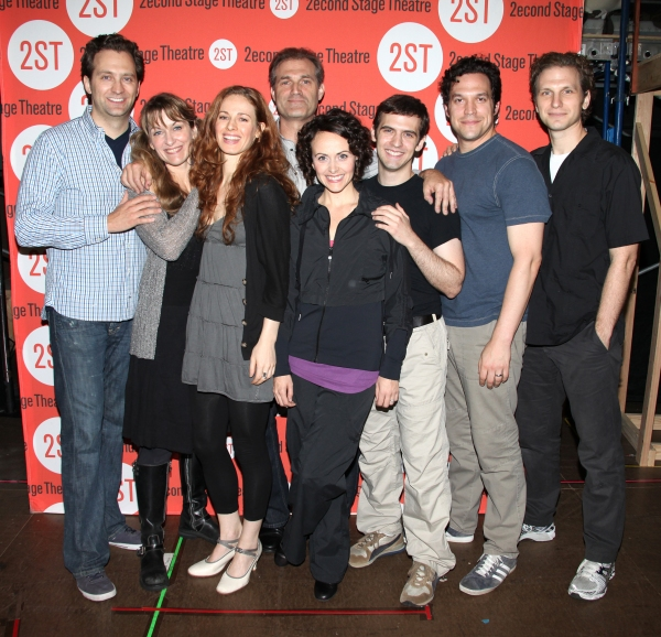 Cast members Graham Rowat, Meghan McGeary, Teal Wicks, Marc Kudisch, Julia Osborne, Joseph Medeiros, Aaron Serotsky and Sebastian Arcelus attend at the Open Press Rehearsal for the Second Stage Theater Production of 'The Blue Flower' at the Second Stage R