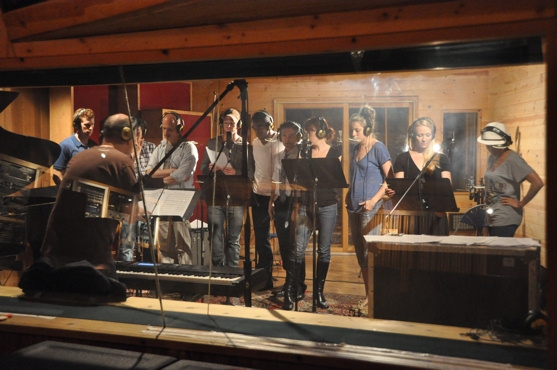 James Lowe conducting the cast of Anything Goes-Mark Ledbetter, Daniel J. Edwards, Justin Greer, Ward Billeisen, Anthony Wayne, Robert Creighton, Tari Kelly, Kimberly Faure, Michelle Lookadoo and Shina An Morris