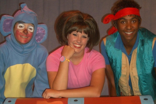 Ryan Patrick Kane as Boots, Jaimie Hoover as Dora, and Jordan C. Allen as Diego at Way Off Broadway Children's Theatre's DORA THE EXPLORER