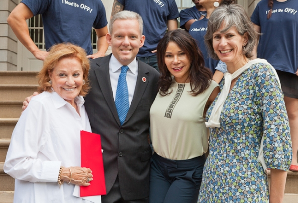 Cynthia Harris, Van Bramer, Daphne Rubin-Vega, Commissioner Kate Levin Photo