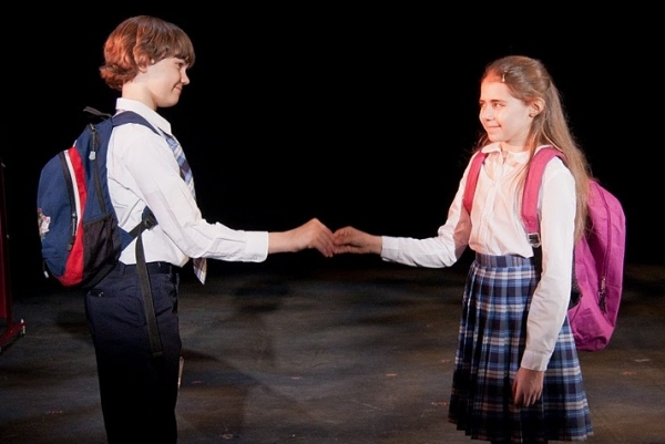 Kyle Brenn and Rachel Resheff at THE KID WHO WOULD BE POPE at NYMF!