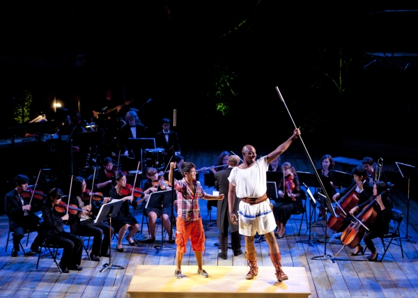 (front, from left) Michael Garcia as the Prince and Alvin Crawford as Odysseus with members of San Diego Youth Symphony and Conservatory in the World Premiere of Odyssey, conceived and directed by Lear deBessonet with music, lyrics and book by Todd Almond