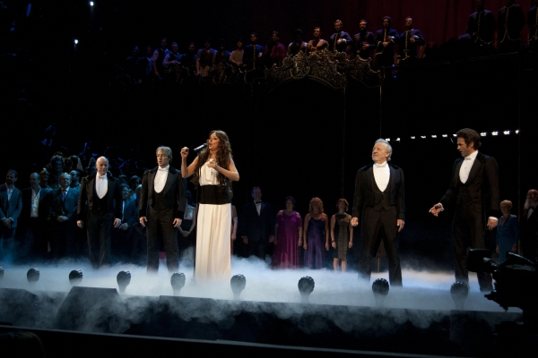 Anthony Warlow, John Owen-Jones, Sarah Brightman, Colm Wilkinson and Peter Joback during the curtain call for the 25th anniversary of The Phantom of the Opera at the Royal Albert Hall, London, England on 2nd October 2011. (Credit should read: Dan Wooller/