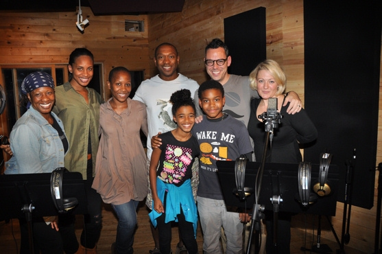 Lynn Pinto (Producer) with the cast of Lion King-Sheryl McCallum, Chondra La-Tease Profit, Selloane Nkhela, Alton Fitzgerald White, Thom Christopher Warren, Imari Smith and Aubrey Omari