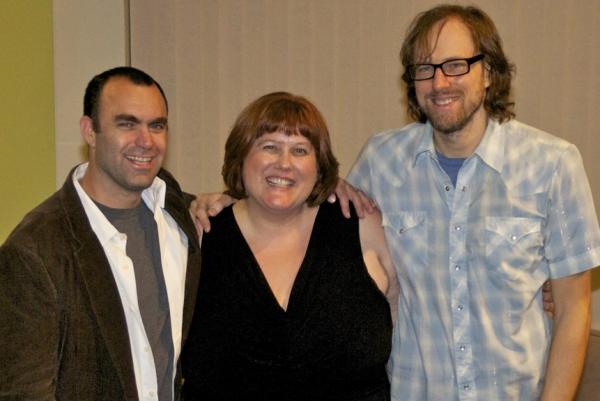 Aron Eli Coleite, Gwenyth Reitz and David Gibbs at Aron Eli Coleite's THE FAMILY ROOM Opens at ArcLight