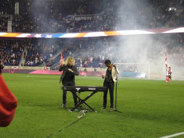 Photo Flash: MEMPHIS' Montego Glover & David Bryan Perform National Anthem at RedBulls Game