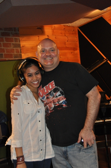 Ashley Argota and Thommie Retter at Ashley Argota & BILLY ELLIOT Musicians Record for 'Carols for a Cure'