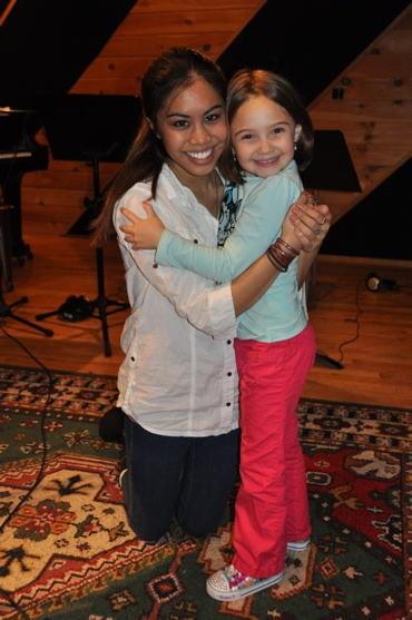Ashley Argota and Delphina at Ashley Argota & BILLY ELLIOT Musicians Record for 'Carols for a Cure'