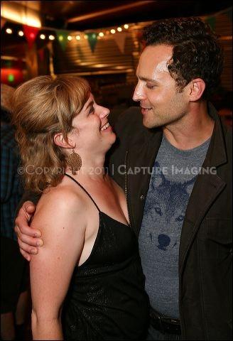 Cast members Meg Sullivan (L) and E. Jason Liebrecht (R)