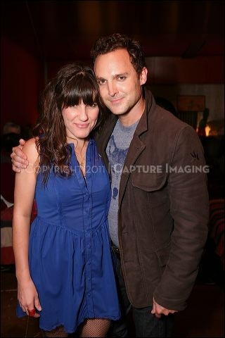 "CULVER CITY, CA - OCTOBER 8: Cast members Cami Alys (L) and E. Jason Liebrecht (R) pose during the shindig for the opening night performance of ""I've Never Been So Happy"" at Center Theatre Group's Kirk Douglas Theatre on October 8, 2011 in Culver City, Ca"