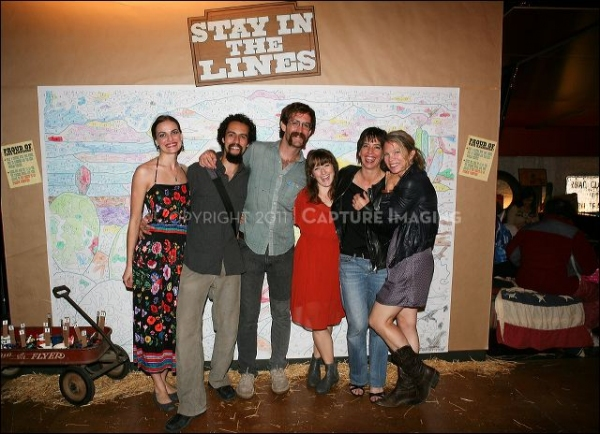 CULVER CITY, CA - OCTOBER 8: (L-R) Cast member Erin Meyer, cast member Noel Gaulin, Co-Director/Cast member Thomas Graves, cast member Hannah Kenah, Co-Director/cast member Lana Lesley and choreographer Dayna Hanson pose during the shindig for the opening