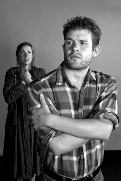 L-R: Abby Apple Boes(Ma) and Benjamin Cowhick (Tom) at NOW PLAYING:  Vintage Theatre's GRAPES OF WRATH Thru 10/30