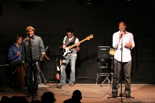 Daniel Watts, Brandon Victor Dixon at D. WATTS' SPOKEN WORD PRESERVES: THE JAM at  the Helen Mills Spotlight Theatre
