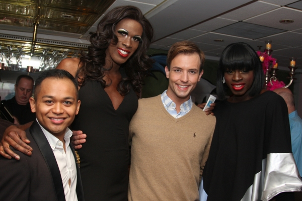 Jeigh Madjus (Jacob), Terry Lavell (Mercedes), Logan Keslar (Bitelle), Donald C. Shorter, Jr. (Chantal)  at Christopher Sieber, George Hamilton, et al. at LA CAGE AUX FOLLES National Tour Opening!