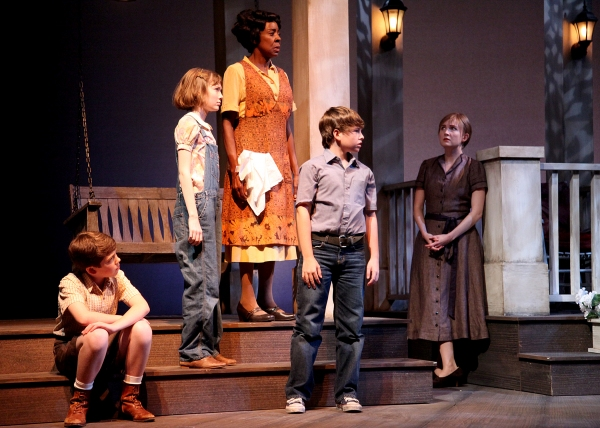 Ethan Haberfield as Dill,  Emmanuelle Nadeau, Marjorie Johnson, Frankie Seratch, and Nisi Sturgis at Shakespeare Theatre of NJ Presents TO KILL A MOCKINGBIRD