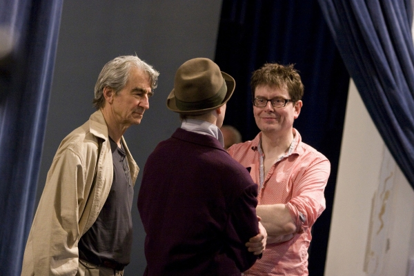 Sam Waterston, Bill Irwin, and James Macdonald in rehearsal for King Lear, directed by James Macdonald, running at The Public Theater October 18-November 20.