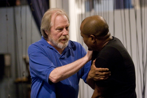 Michael McKean and Seth Gilliam in rehearsal for King Lear, directed by James Macdona Photo