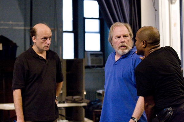 Frank Wood, Michael McKean and Seth Gilliam in rehearsal for King Lear, directed by J Photo