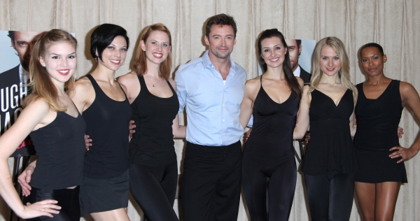 Hugh Jackman with Emily Tyra, Anne Otto, Hilary Michael Thompson, Lara Seibert, Robin Campbell & Kearran Giovanni attending the Photo Call for 'Hugh Jackman, Back On Broadway' at the Pearl Studios in New York City.
