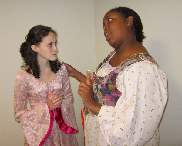 "Megan Sherow of Millstone and Zulekia Dockery of Rahway, rehearse a scene from Machiavelli's comic ""Mandragola."""