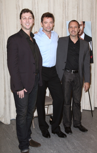Warren Carlyle, Hugh Jackman & Patrick Vaccariello attending the Photo Call for 'Hugh Jackman, Back On Broadway' at the Pearl Studios in New York City. October 18, 2011 © Walter McBride / Retna Ltd.