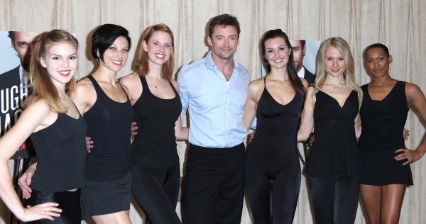 Hugh Jackman with Emily Tyra, Anne Otto, Hilary Michael Thompson, Lara Seibert, Robin Campbell & Kearran Giovanni attending the Photo Call for 'Hugh Jackman, Back On Broadway' at the Pearl Studios in New York City. October 18, 2011 © Walter McBride / R