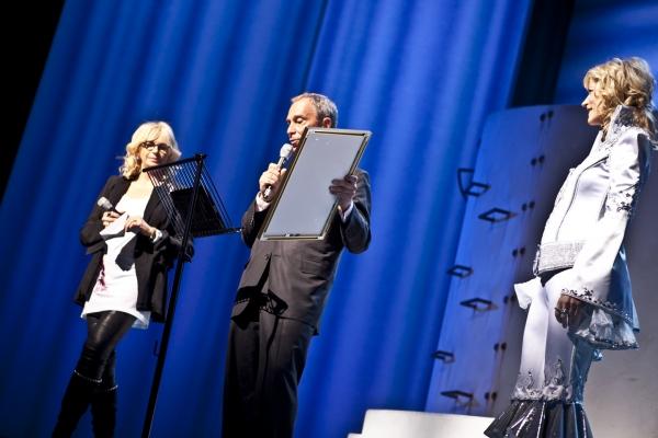 Judy Craymer, Mayor Michael Bloomberg and Lisa Brescia at Happy 10th Broadway Birthday MAMMA MIA!