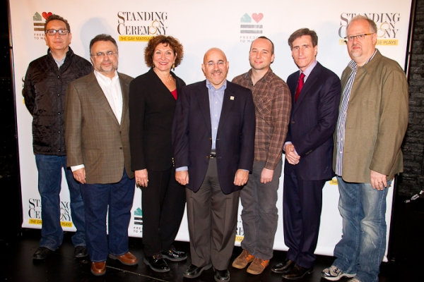 Moises Kaufman, Richard Frankel, Joan Stein, Evan Wolfson, Jordan Harrison, Paul Rudnick, and Doug Wright at Meet the Cast of STANDING ON CEREMONY!