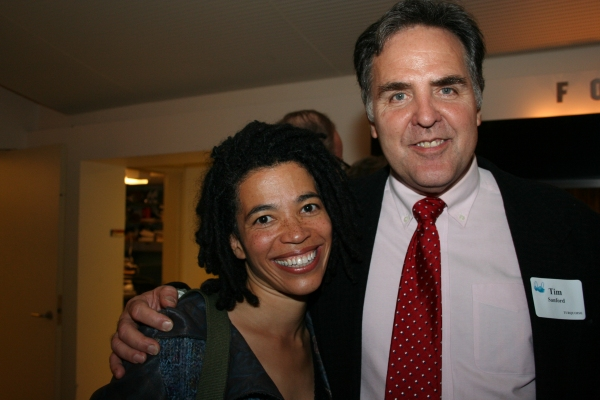 Playwrights Horizons Artistic Director Tim Sanford with playwright Tanya Barfield  at STORIES ON 5 STORIES: Dirty Laundry