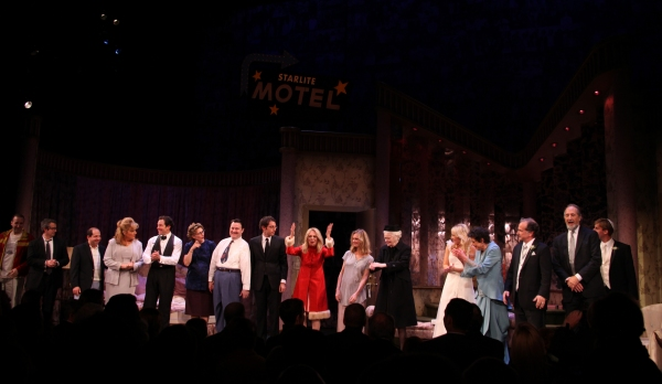 Danny Hoch, Jason Kravitz, Caroline Aaron, Steve Guttenberg, Katherine Borowitz, Allen Lewis Rickman, Max Gordon Moore, Marlo Thomas, Lisa Emery, Patricia O'Connell, Ari Graynor, Julie Kavner, Mark Linn-Baker, Richard Libertini, Bill Army  at RELATIVELY SPEAKING Opening Night Curtain Call!