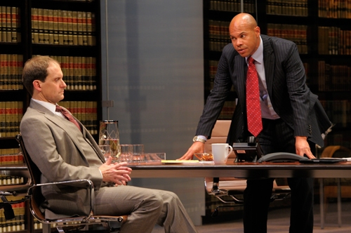 Law firm partners Jack Lawson (A.C.T. core acting company member Anthony Fusco, left) and Henry Brown (Chris Butler) discuss whether they should take on this controversial case.