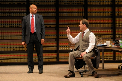 Law firm partners Jack Lawson (A.C.T. core acting company member Anthony Fusco, right) and Henry Brown (Chris Butler) struggle to build a strong defense for this racially charged case.