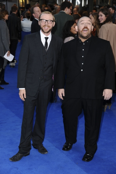 Oct. 23, 2011 - London, England, United Kingdom - Simon Pegg and Nick Frost.arrives for the 'Tintin' premiere at the Odeon West End, London...©Ash Knotek D2336 23/10/2011. (Credit Image: © Snappers/ZUMAPRESS.com)