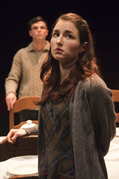 Oct. 24, 2011 - London, England, UK - London, UK. Tom Ross-Williams as Morris Weissmann and Katie Borland as Natalie Weissmann. 'Shalom Baby', a love story set in both Nazi Germany and modern day Brooklyn opens at the Theatre Royal Stratford East. Writ