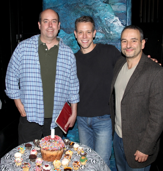 Adam Pascal with Director Christopher Ashley & Joe DiPietro  at Backstage Birthday Celebration for Adam Pascal at MEMPHIS!