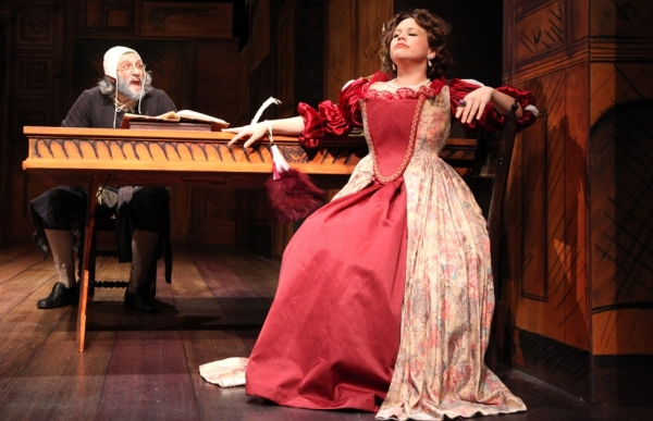 Andrea Pane as Harpagon with Mischa Goodman as Frosine