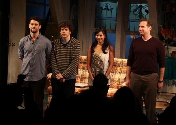 Justin Bartha, Jesse Eisenberg, Camille Mana & Remy Auberjonois. Photo Credit: Walte Photo